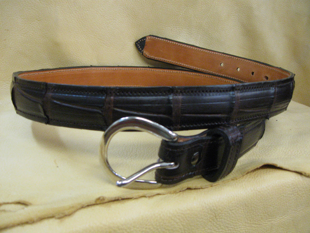 Authentic Alligator Feather-Edged Leather Belt - Sur Tan Mfg. Co.