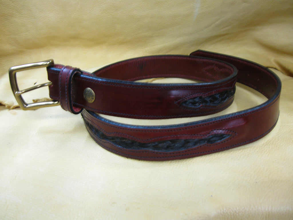 Braided Dark Horsehair Harness Leather Belt