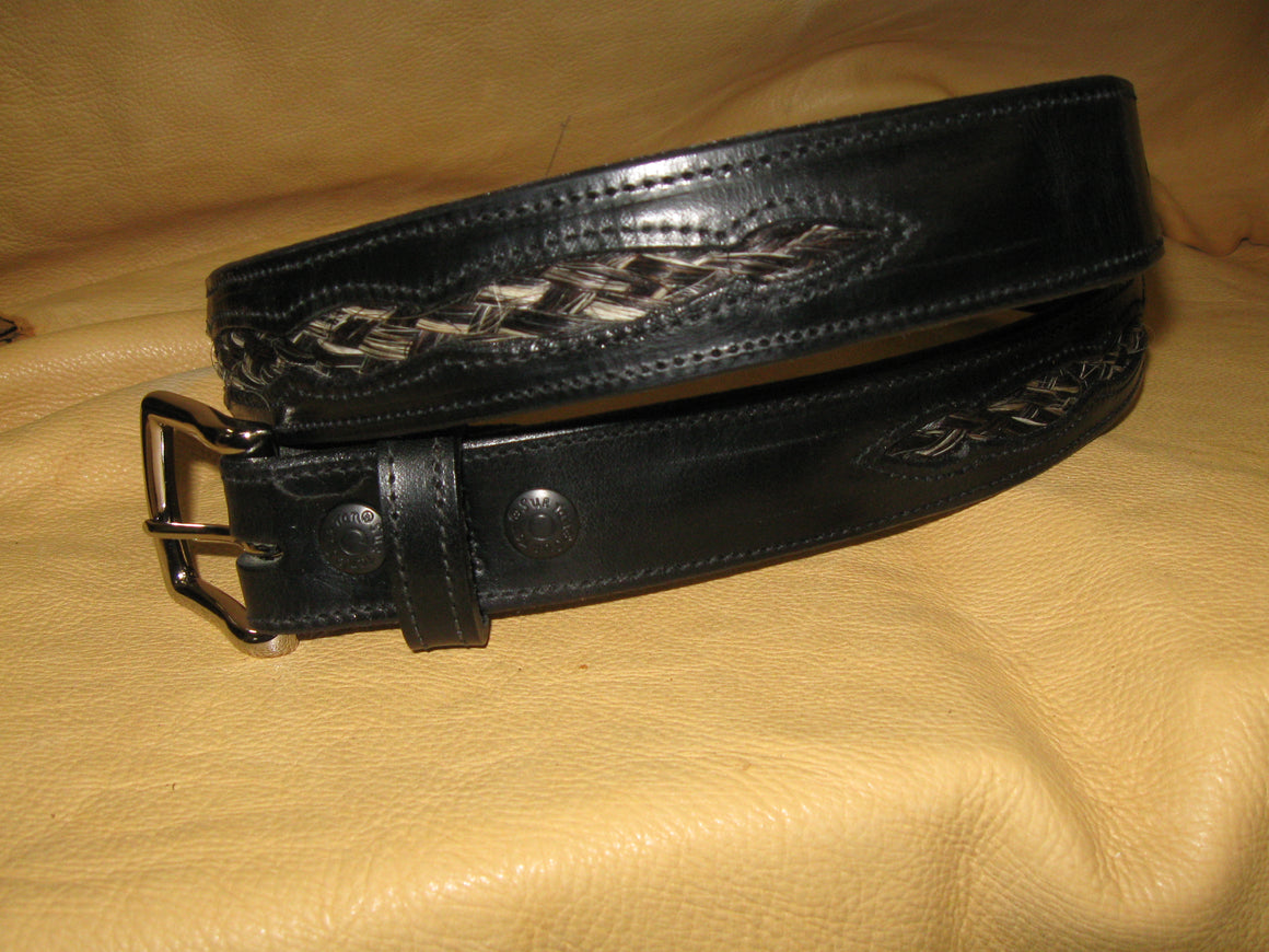 Braided Black-White Horsehair Inlay Design Harness Leather Belt