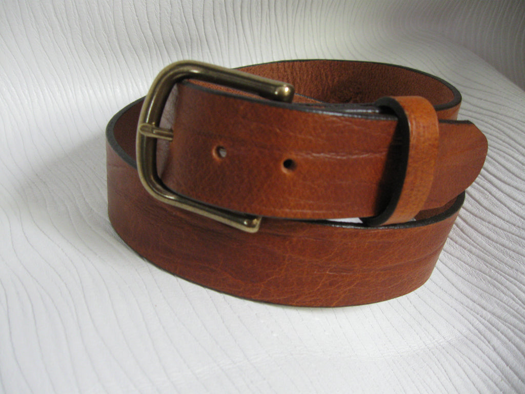 Sur Tan Classic Mellow Montana Buffalo leather belt with plain design and solid brass buckle
