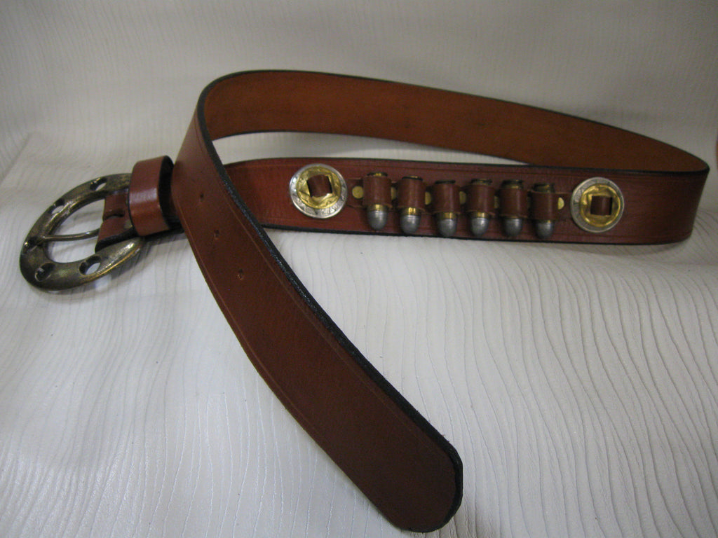 Sur Tan Classic Ammo Harness leather belt with scored edges, brass and nickel conchos and antique brass buckle (specify ammo caliber)