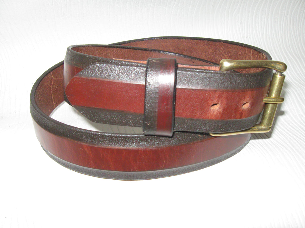 Sur Tan Classic Harness leather skived-edge belt with solid brass roller buckle
