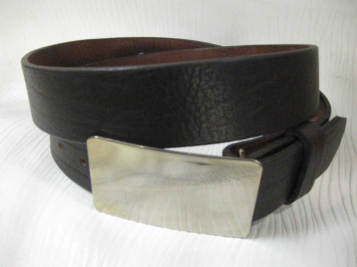 Mellow Buffalo Leather Belt w/Engravible Buckle - Sur Tan Mfg. Co.