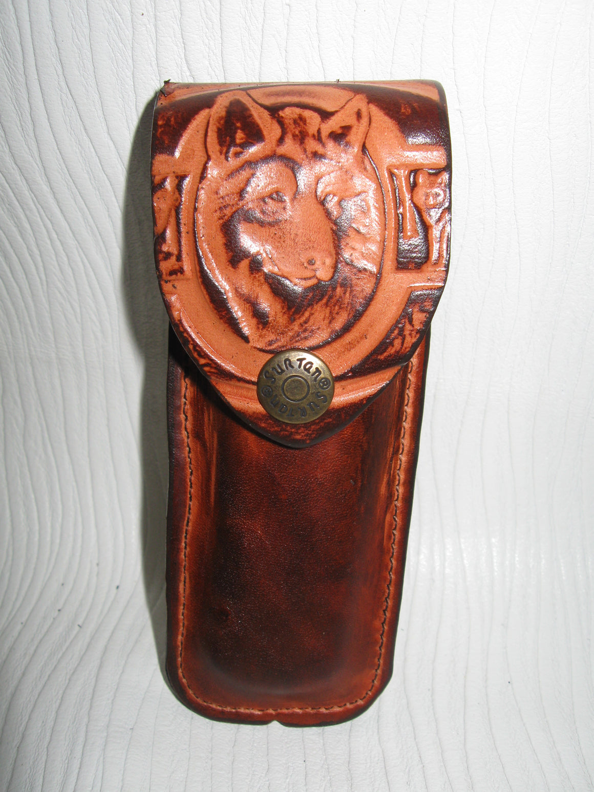 Folding Knife Embossed Cowhide Leather Knife Sheath - Sur Tan Mfg. Co.