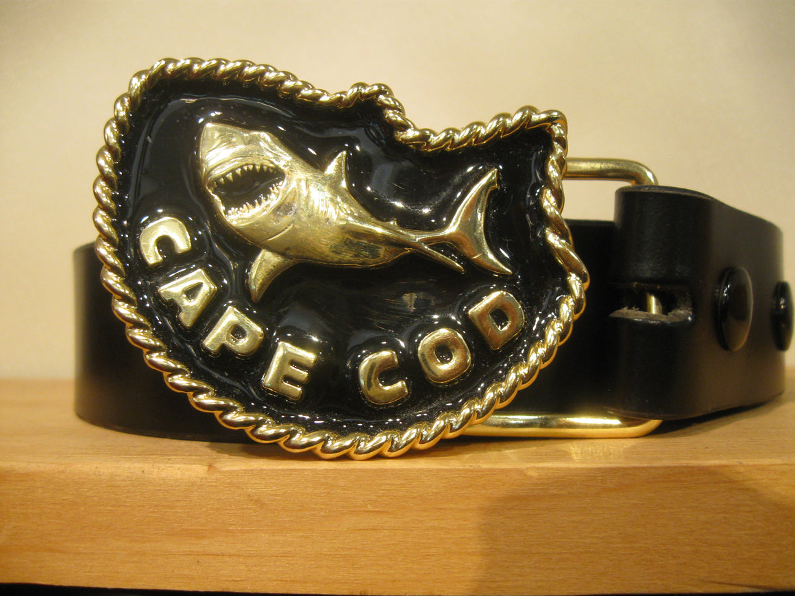 Great White Shark Brass/Black Belt Buckle and Belt by Sur Tan - Sur Tan Mfg. Co.