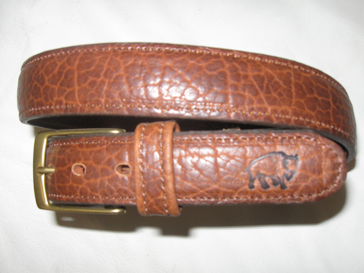 "American Bison leather 1-3/8"" embossed, stitched, feather-edged belt"