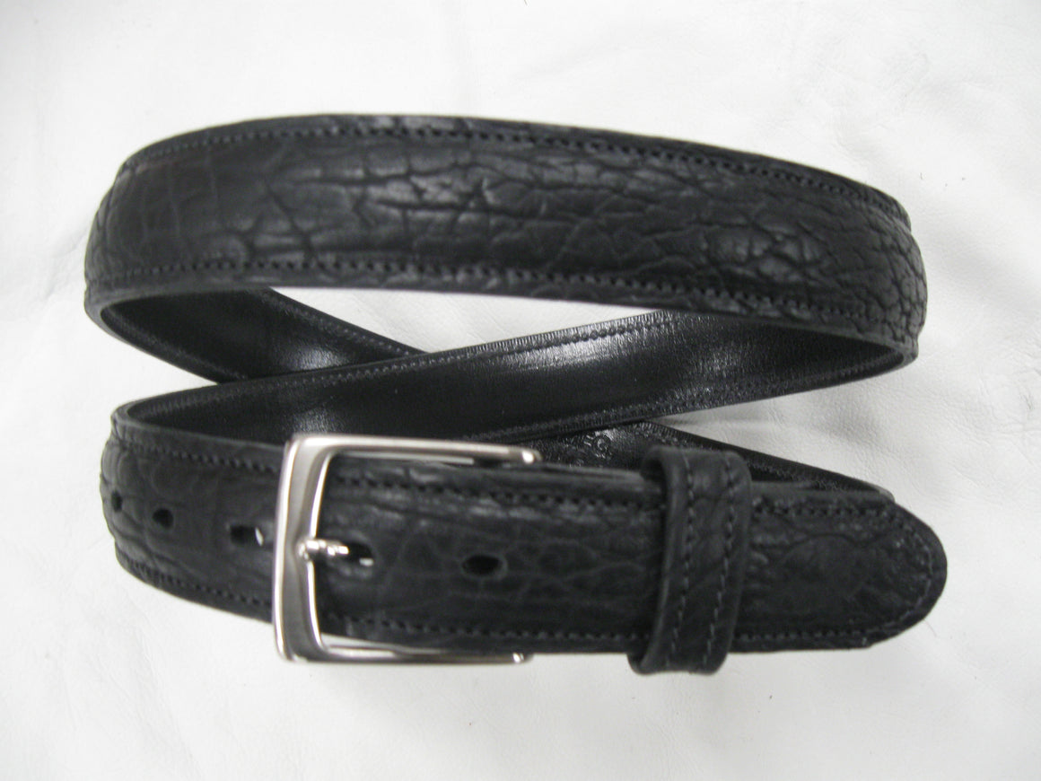 Shrunken American Bison Stitched, Feather-Edged Leather Belt