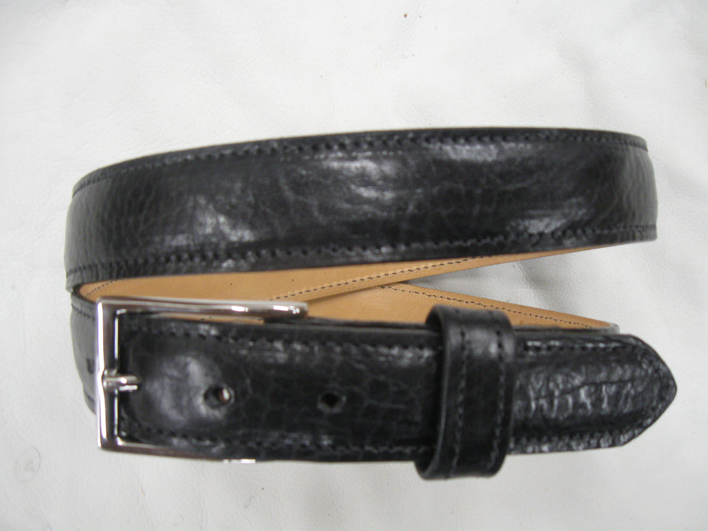 Shrunken High-Gloss Cowhide Stitched, Feather-Edged Leather Belt