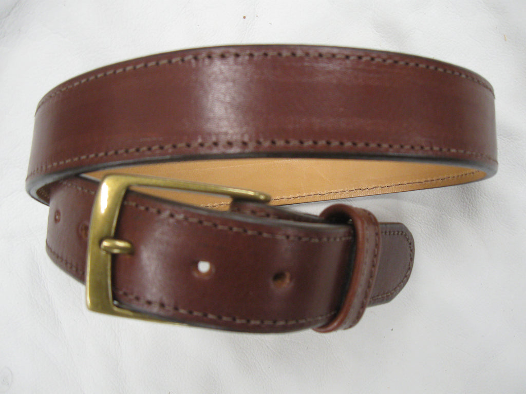 Smooth, Waxy Stitched Cowhide Leather Belt