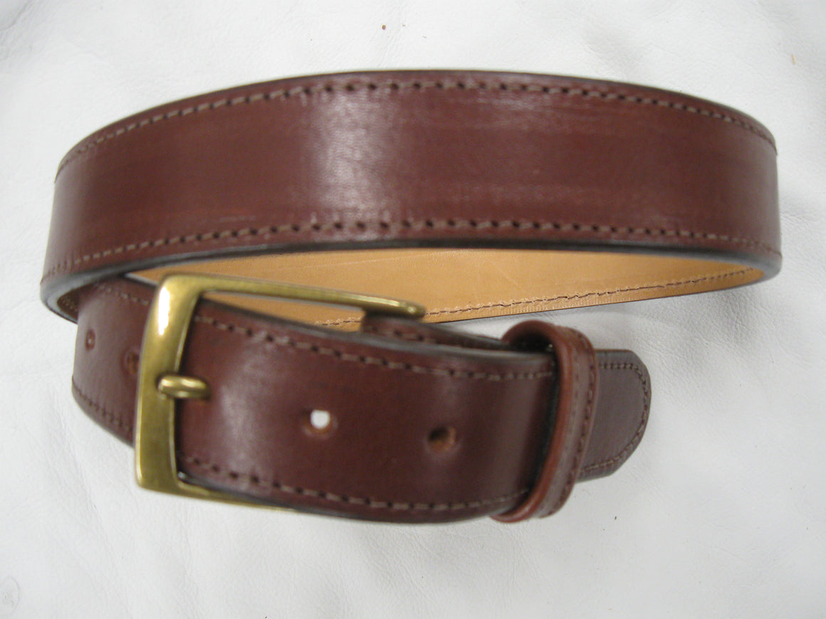 Smooth, Waxy Stitched Cowhide Leather Belt - Sur Tan Mfg. Co.