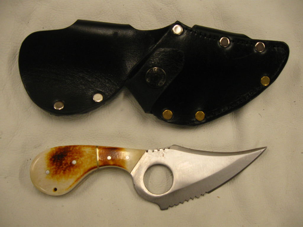 """Quick Draw"" Left-Side Skinning Knife & Sheath - Sur Tan Mfg. Co."
