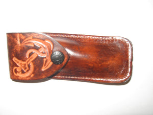Folding Knife Embossed Cowhide Leather Knife Sheath