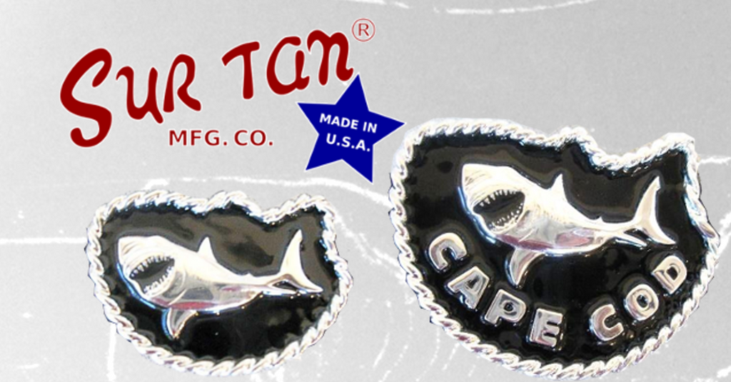 Great White Shark Silver/Black Belt Buckle and Belt by Sur Tan