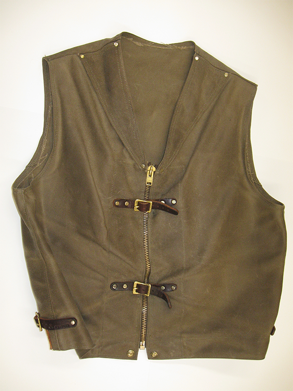 Sur Tan Original Lightweight Black Denim Biker's Vest with Leather Trim - Sur Tan Mfg. Co.