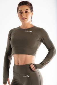 Sparta Ultra-Thermic Crop Long Sleeve - Light Khaki - Sparta Gym Wear