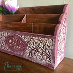 Vintage Hand Carved Mail Sorter