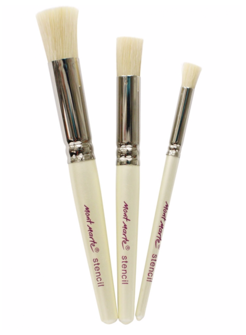 Professional Stencil 3pc Brush Set 12mm, 8mm, 4mm