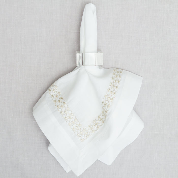 Silver Drop Band Dinner Napkin