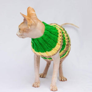Candy-Striped Openwork Knit Cat Sweater that is suitable for small dogs.