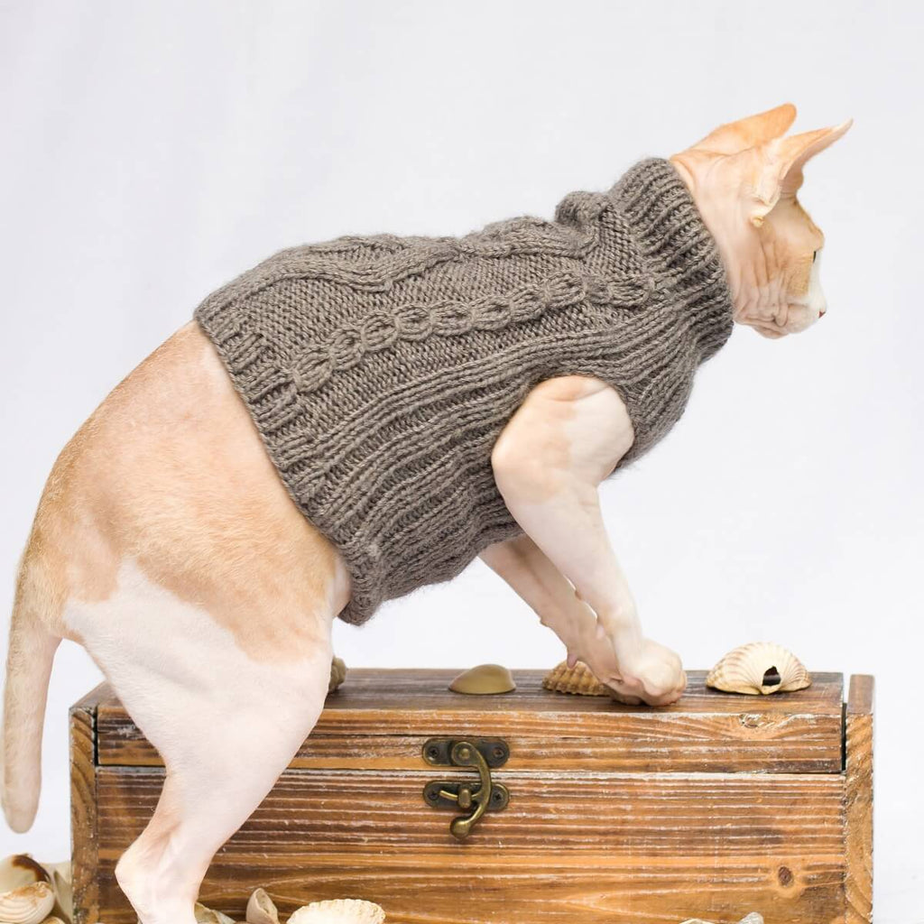 Diamond-Shaped Cable Pattern Cat Jumper