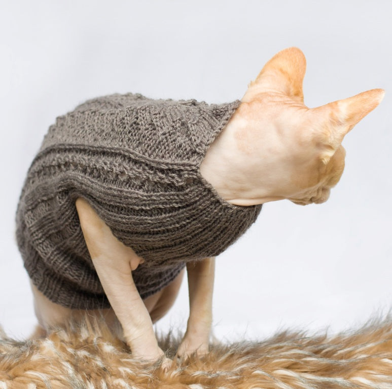 cat sweater with no sleeves in grey
