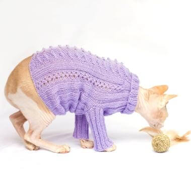 cat sweater with long sleeves in purple
