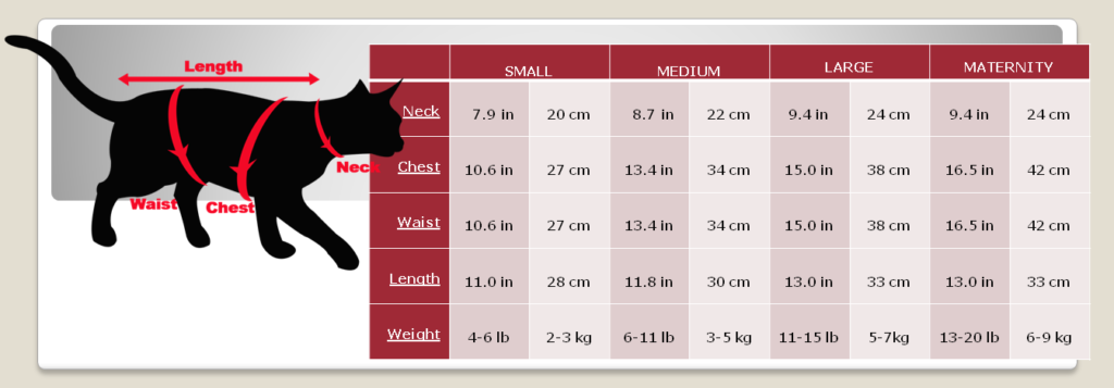 cat wear size chart