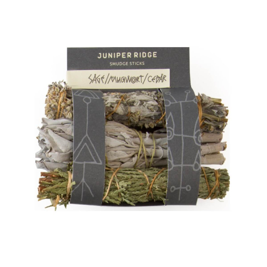 Wildharvested and ecologically produced Sage, Mugwort and Cedar dried mini sticks have no hidden ingredients. No charcoal or perfume. Wrapped in organic cotton.