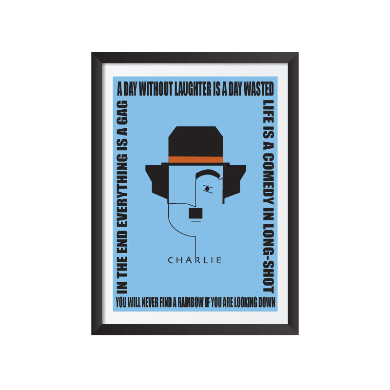 Charlie Chaplin with quotes art frame