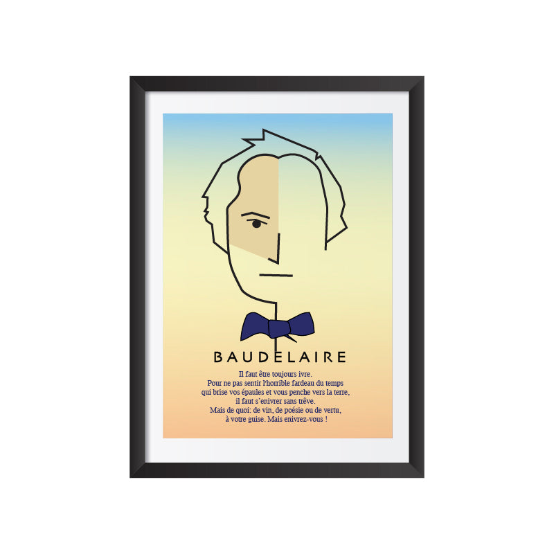 Baudelaire with quote (colored) Art Frame