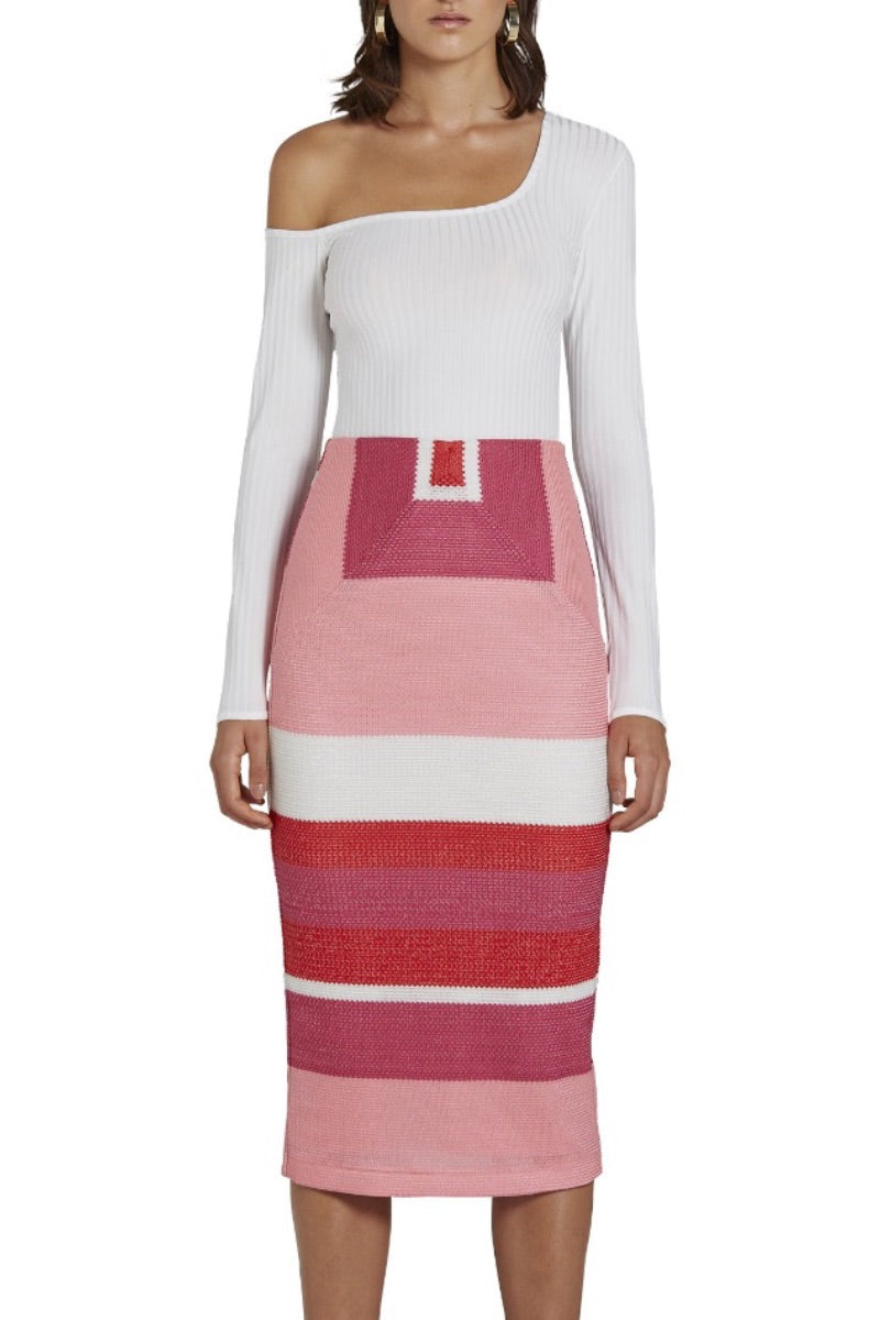 Honeycomb Weave Pencil Skirt