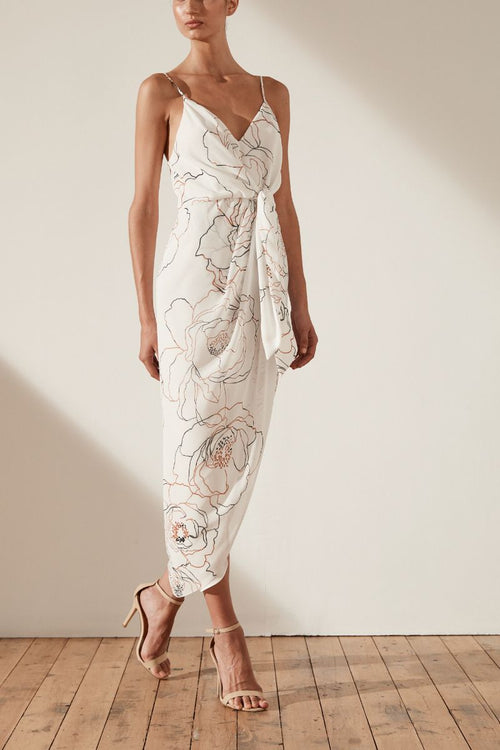 Chiara Tie Front Draped Midi Dress