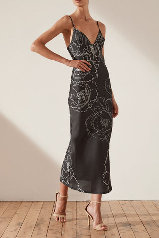 Ria High Neck Midi Dress