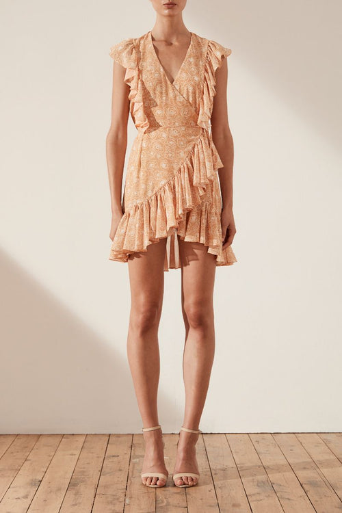 Siena Ruffle Wrap Mini Dress