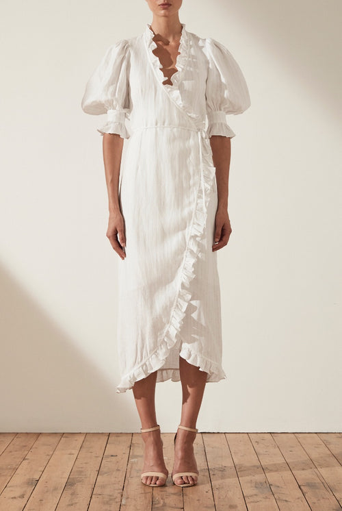 HOLDEN LINEN PUFF SLEEVE WRAP MIDI DRESS