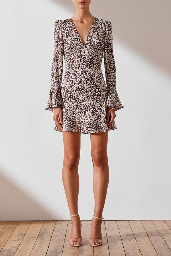Billie Frill Cuff Bias Mini Dress