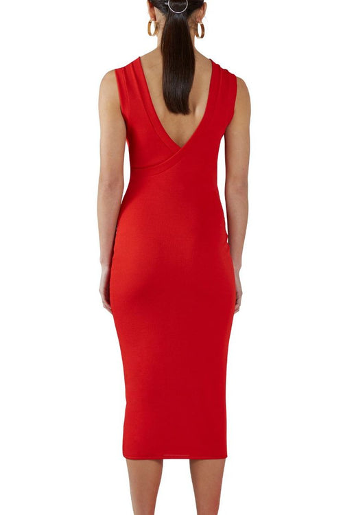Chilli Ribbed Wrap-Back Dress