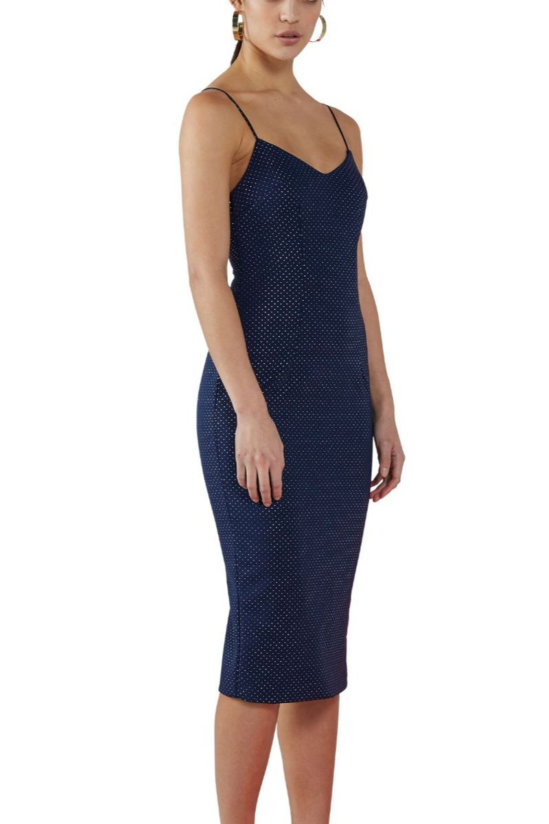 Navy Shine V Midi Dress