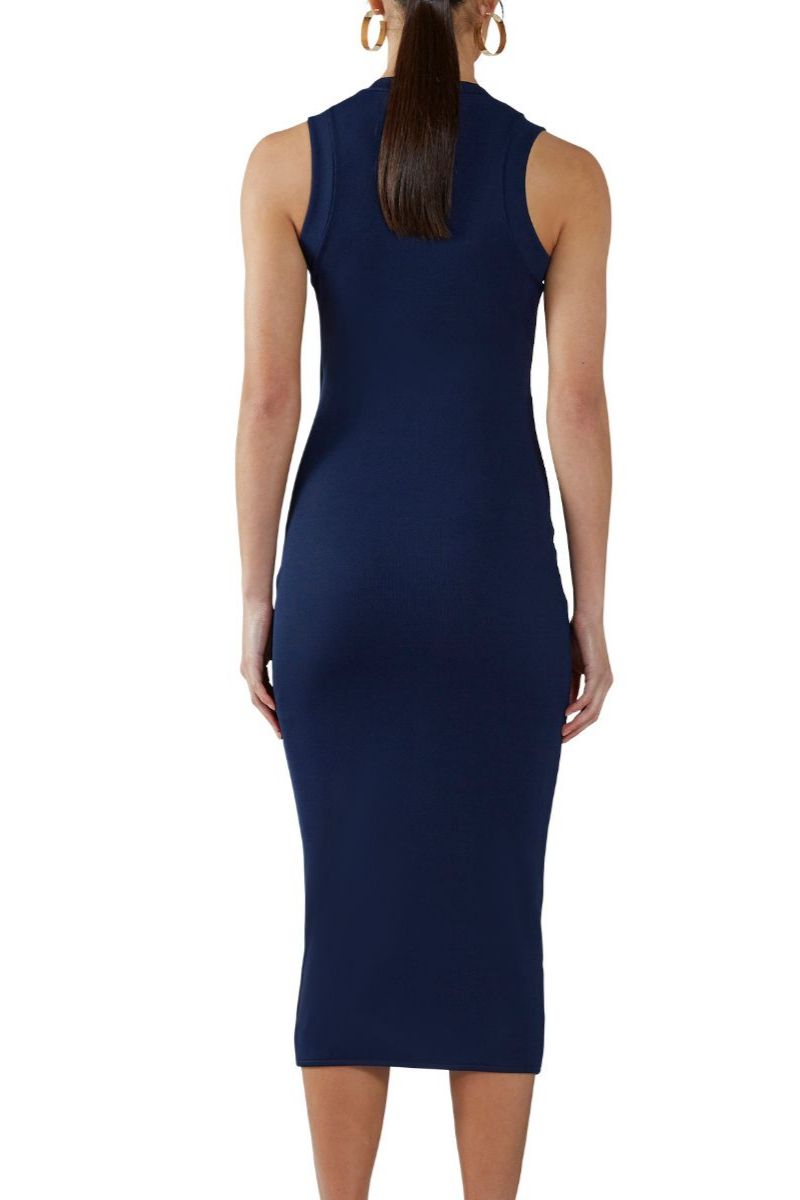 Navy Ribbed Wrap-Front Dress