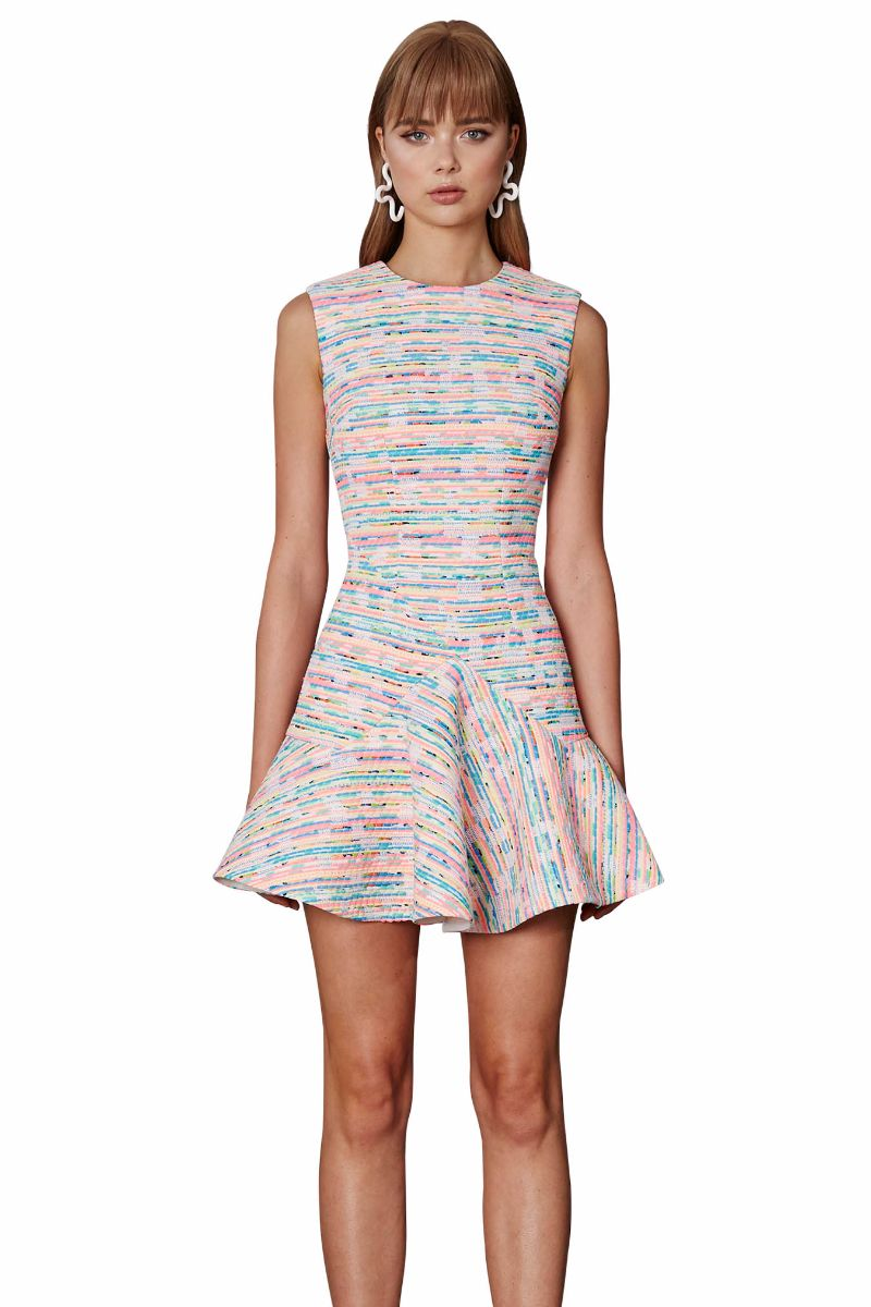 Neon Weave V Flare Mini Dress