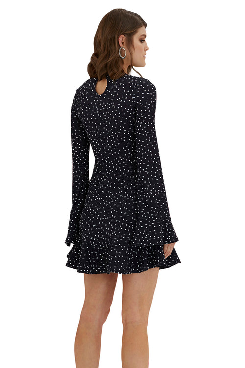 Issy Flute Mini Dress - Black