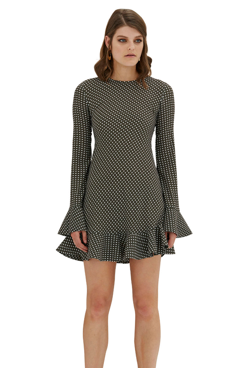 Issy Flute Mini Dress - Olive