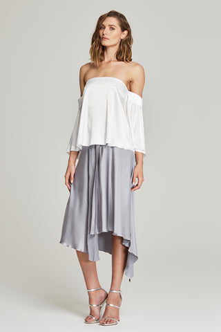 Delfine Draped Midi Skirt - White