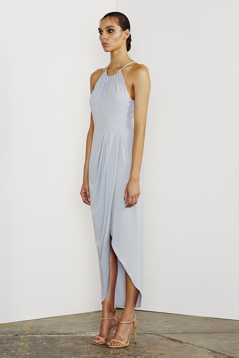 Core Ruched High Neck Maxi - Powder Blue