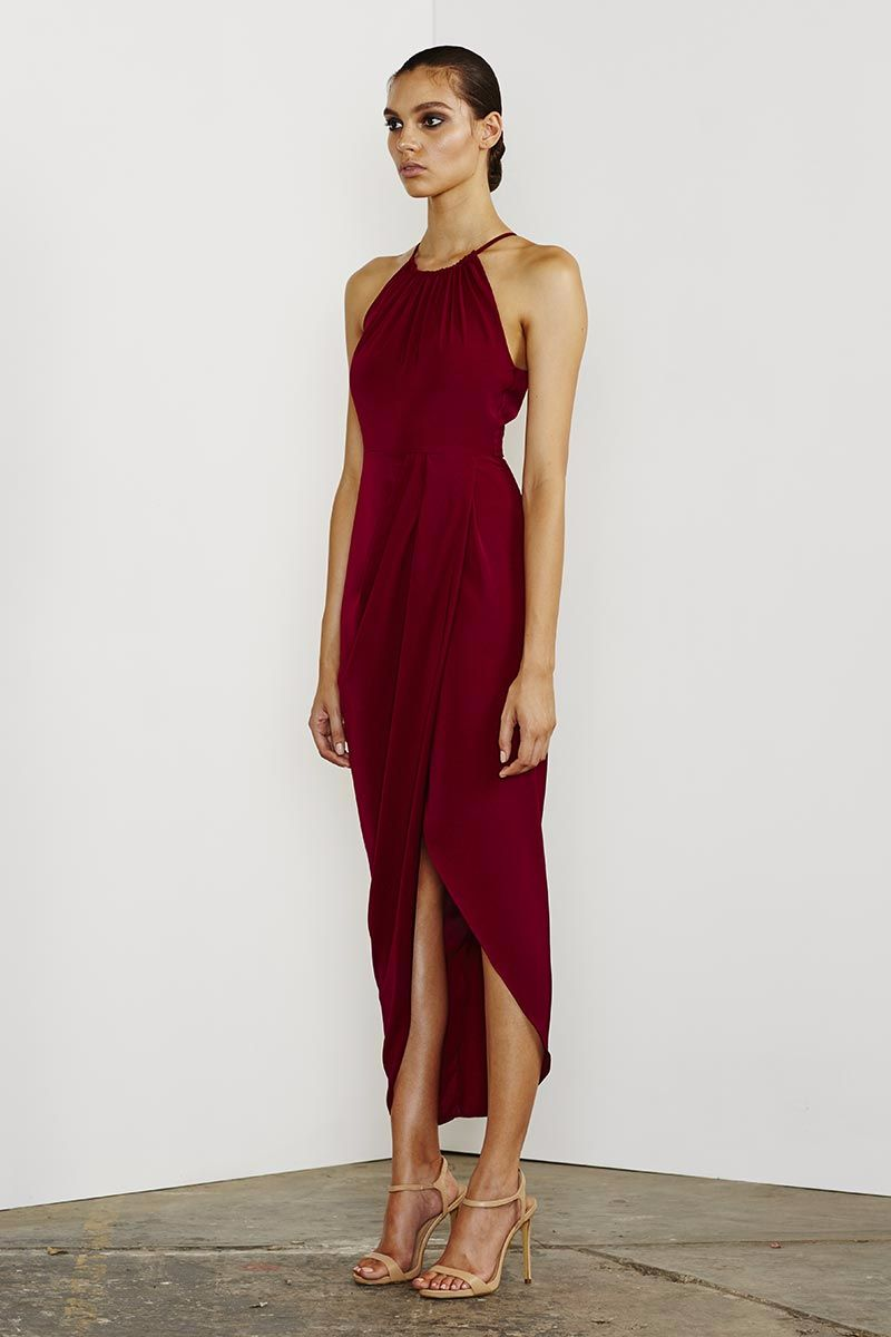 Core Ruched High Neck Maxi - Burgandy