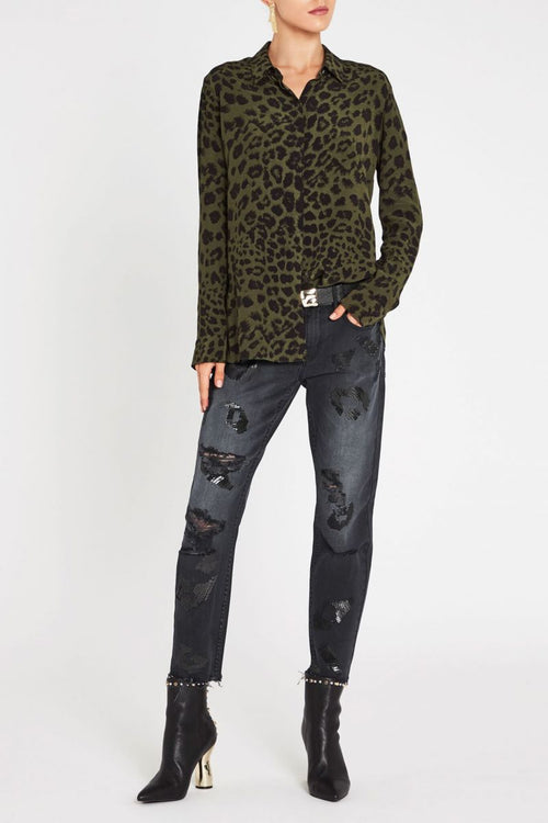 A Thousand Faces Embellished Boyfriend Jean - Washed Black
