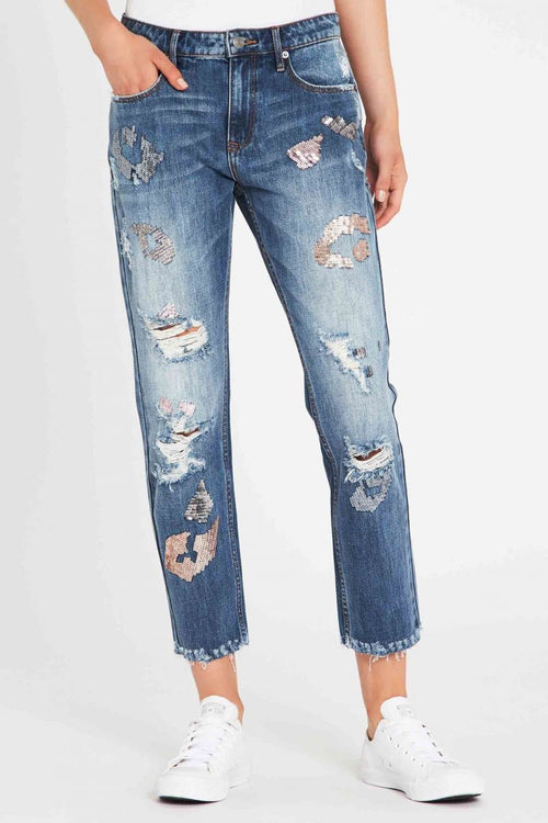 A Thousand Faces Embellished Boyfriend Jean - Vintage Indigo
