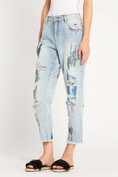 Steady Pace Embellished Boyfriend Jeans
