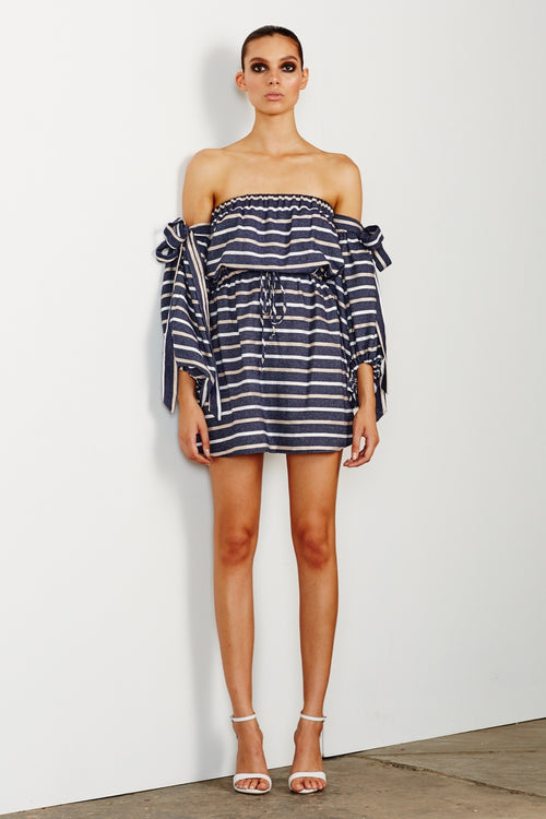 Paloma Off the Shoulder Mini Dress - Navy