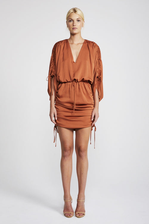 Solar Ruched Kimono Mini Dress
